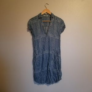 Chambray Patterned Dress with Pockets